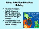 paired talk aloud problem solving