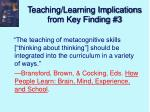 teaching learning implications from key finding 3