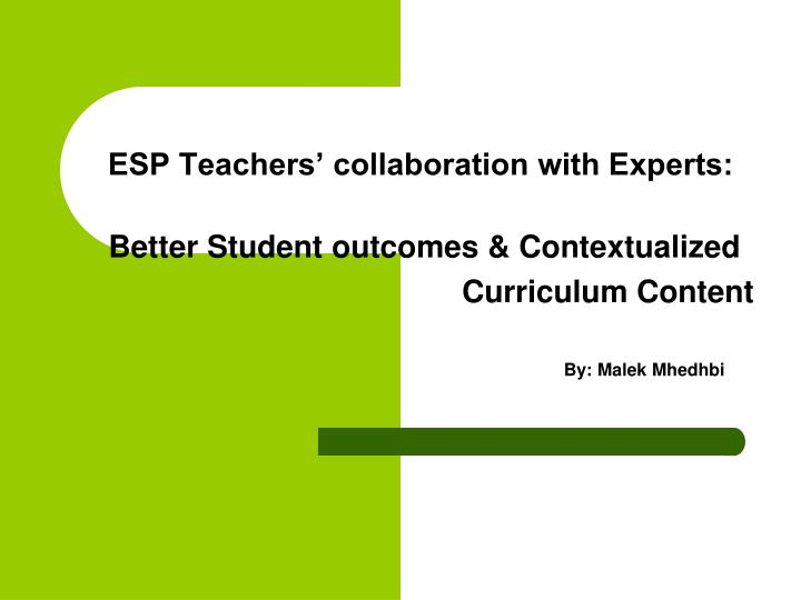 esp teachers collaboration with experts n.
