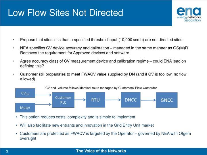 Low flow sites not directed