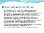 risques d implementation