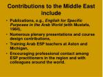contributions to the middle east include