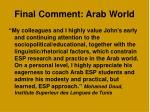 final comment arab world