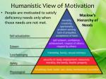 humanistic view of motivation