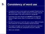 consistency of word use