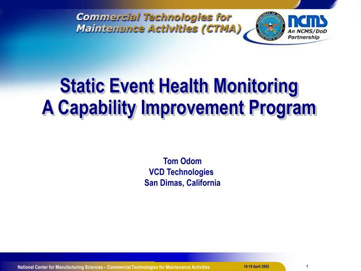 static event health monitoring a capability improvement program n.