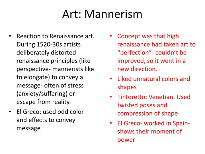Art: Mannerism