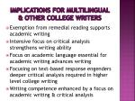 implications for multilingual other college writers
