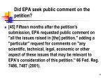 did epa seek public comment on the petition
