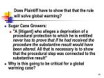 does plaintiff have to show that that the rule will solve global warming