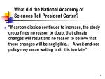 what did the national academy of sciences tell president carter