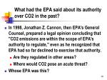 what had the epa said about its authority over co2 in the past