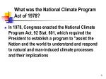 what was the national climate program act of 1978