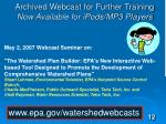 archived webcast for further training now available for ipods mp3 players