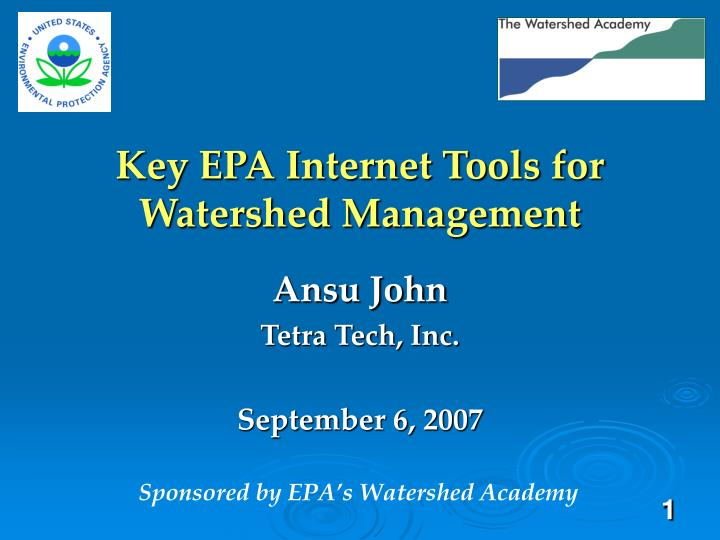 key epa internet tools for watershed management n.