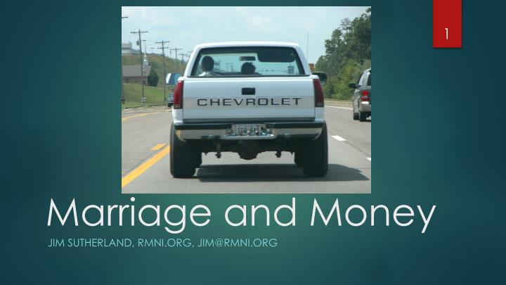 marriage and money n.