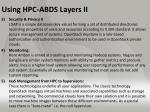 using hpc abds layers ii