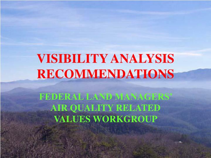 visibility analysis recommendations n.