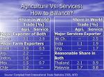 agriculture vs services how to balance