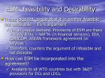 esm feasibility and desirability