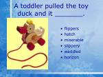 a toddler pulled the toy duck and it