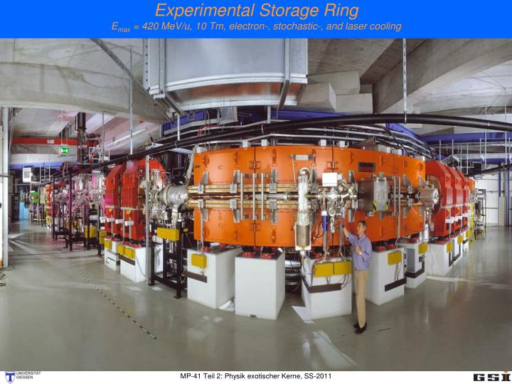 experimental storage ring e max 420 mev u 10 tm electron stochastic and laser cooling n.