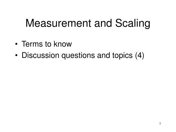 measurement and scaling n.