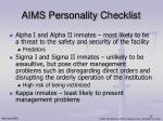 aims personality checklist