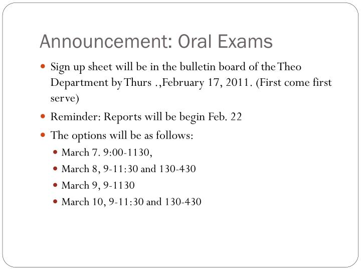 announcement oral exams n.
