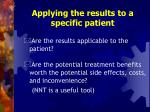 applying the results to a specific patient