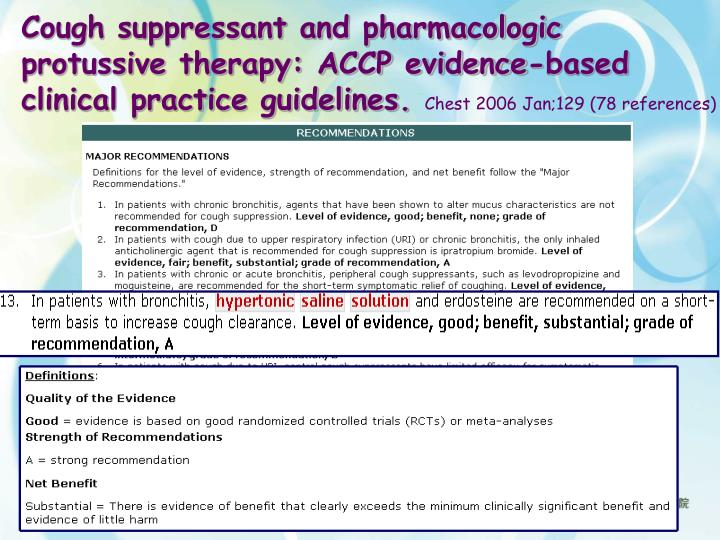Cough suppressant and pharmacologic protussive therapy: ACCP evidence-based clinical practice guidelines.