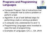 programs and programming languages