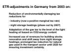 etr adjustments in germany from 2003 on