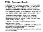 etr in germany results