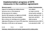 implementation progress of efr measures in the coalition agreement