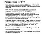 perspectives for etr