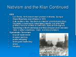 nativism and the klan continued