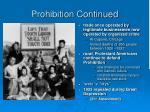 prohibition continued