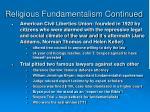 religious fundamentalism continued