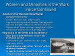 women and minorities in the work force continued