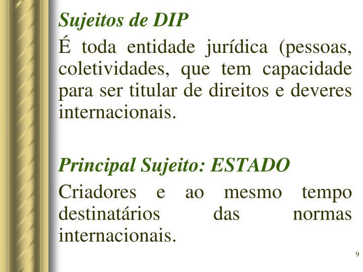 Sujeitos de DIP