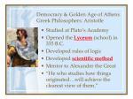 democracy golden age of athens greek philosophers aristotle