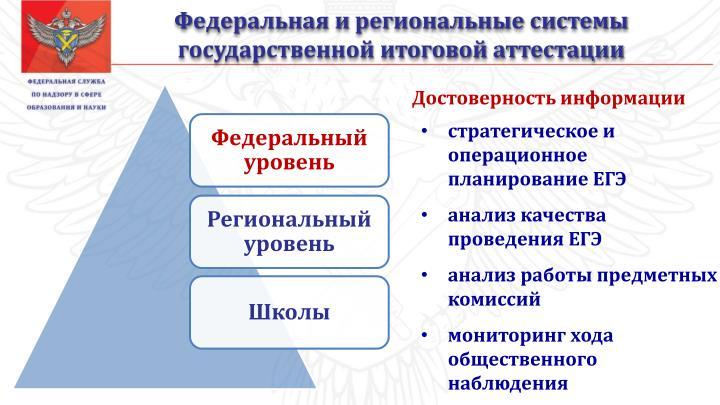 Федеральная и региональные системы государственной итоговой аттестации