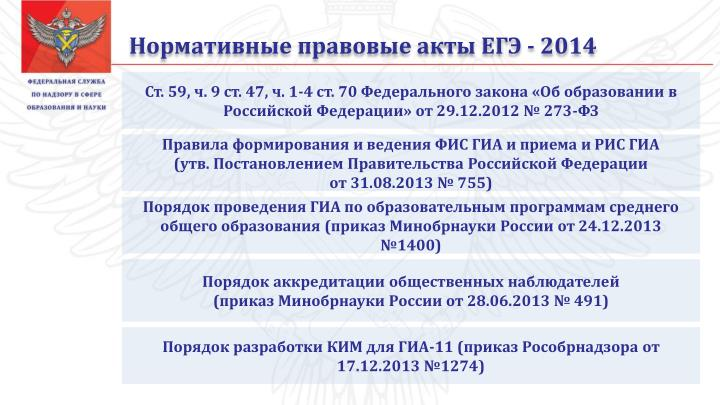 Нормативные правовые акты ЕГЭ - 2014