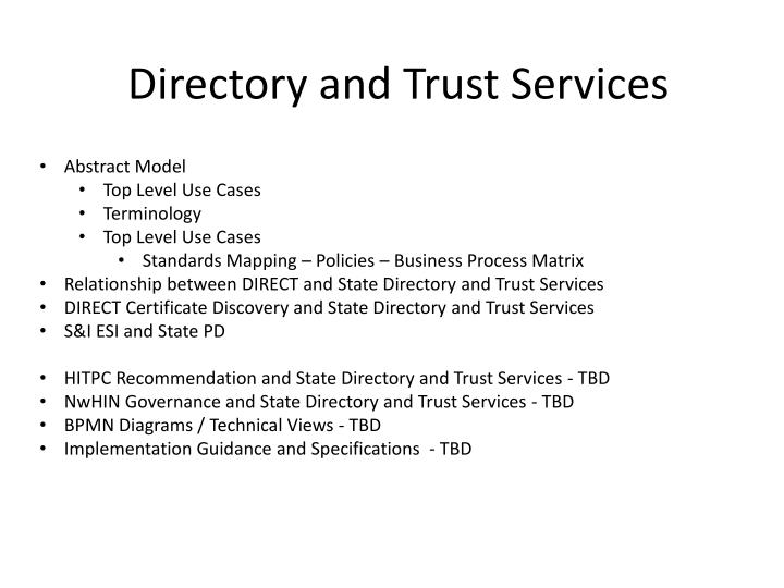 directory and trust services n.