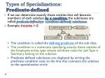 types of specializations predicate defined