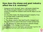 how does the sheep and goat industry affect the u s economy