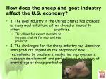 how does the sheep and goat industry affect the u s economy1