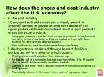 how does the sheep and goat industry affect the u s economy2