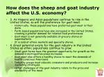 how does the sheep and goat industry affect the u s economy3